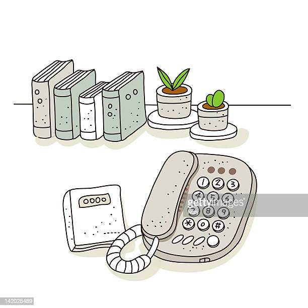 illustration of phone with books in background - phone cord stock illustrations