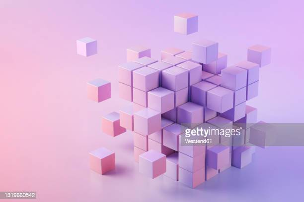3d illustration of pink cubes - large group of objects stock illustrations