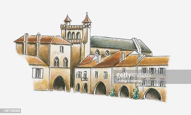 illustration of place des arcades, monflanquin, lot-et-garonne, france - midi pyrénées stock illustrations, clip art, cartoons, & icons