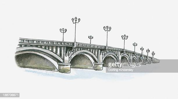 illustration of pont saint-esprit, bayonne, pyrenees-atlantiques, france - en búsqueda stock illustrations