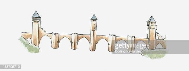 illustration of pont valentre, cahors, lot, france - midi pyrénées stock illustrations, clip art, cartoons, & icons