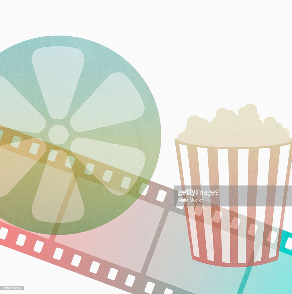 illustration of popcorn box with film strip and reel against white background high res vector graphic getty images https www gettyimages co uk detail illustration illustration of popcorn box with film strip royalty free illustration 663750687