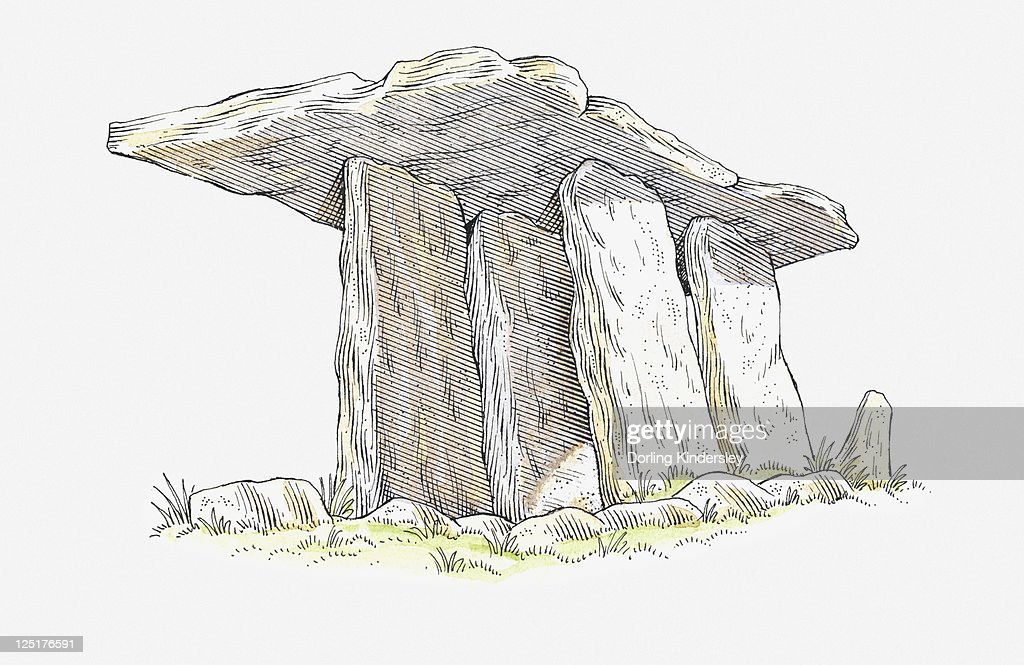 Illustration of Poulnabrone Dolmen, neolithic chamber tomb, County Clare, Ireland : stock illustration