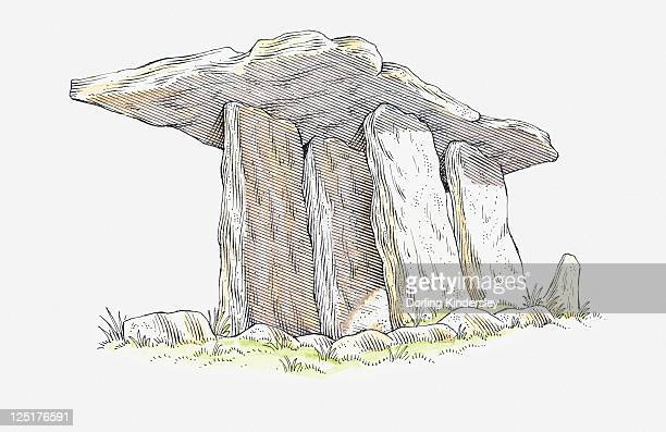 ilustrações de stock, clip art, desenhos animados e ícones de illustration of poulnabrone dolmen, neolithic chamber tomb, county clare, ireland - megalith