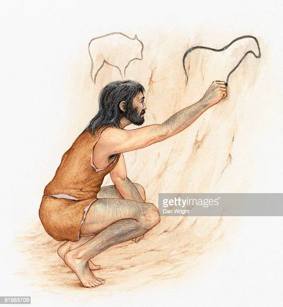 Illustration of prehistoric man drawing on cave wall