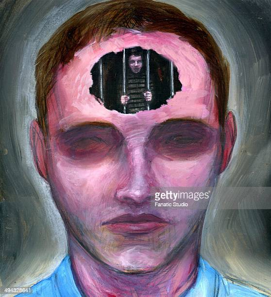 illustration of prisoner of mind - phobia stock illustrations, clip art, cartoons, & icons