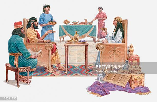 illustration of queen of sheba talking to solomon, surrounded by servants, gifts on the floor, book of kings - queen royal person stock illustrations, clip art, cartoons, & icons