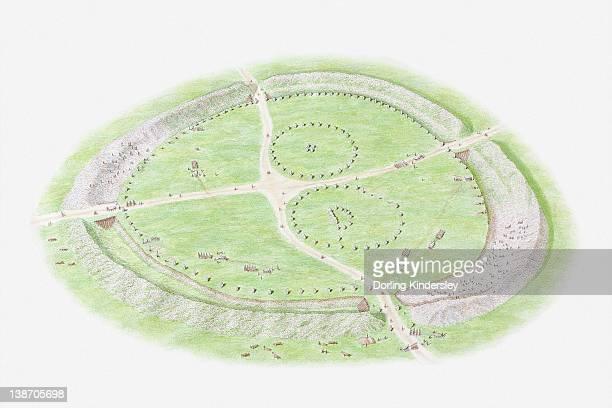 Illustration of recreation of the Henge at Avebury, Stone Henge