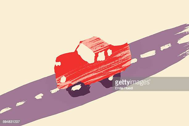 illustration of red car on street - road marking stock illustrations