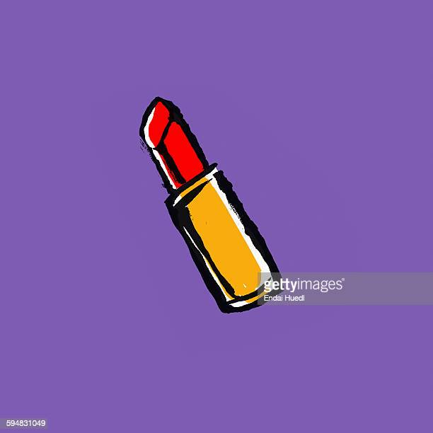 illustration of red lipstick on purple background - beauty stock illustrations