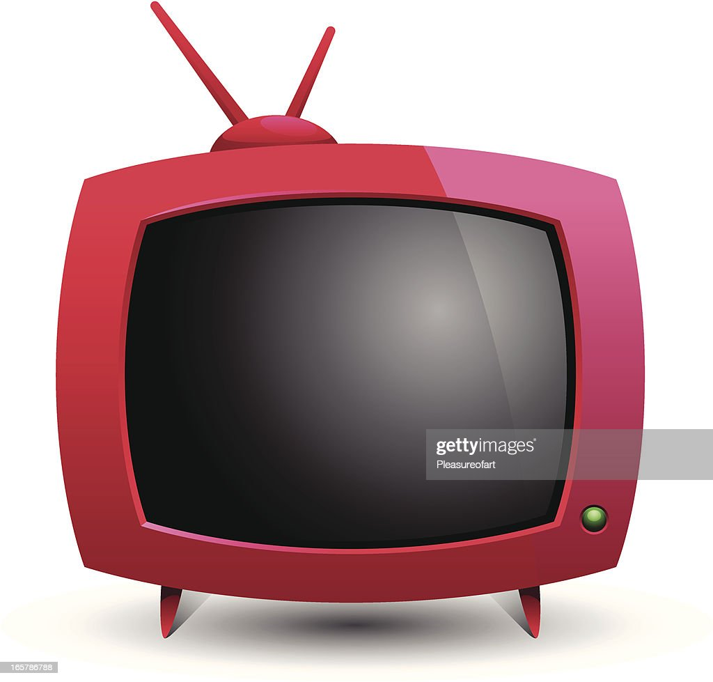 Illustration of red old television blank screen and antena