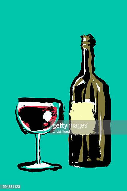 illustration of red wineglass and bottle against green background - wine stock illustrations