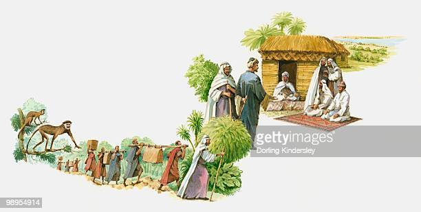 illustration of rene caillie's trek to timbuktu and his inquisition by town elders outside their hut - mali stock illustrations, clip art, cartoons, & icons