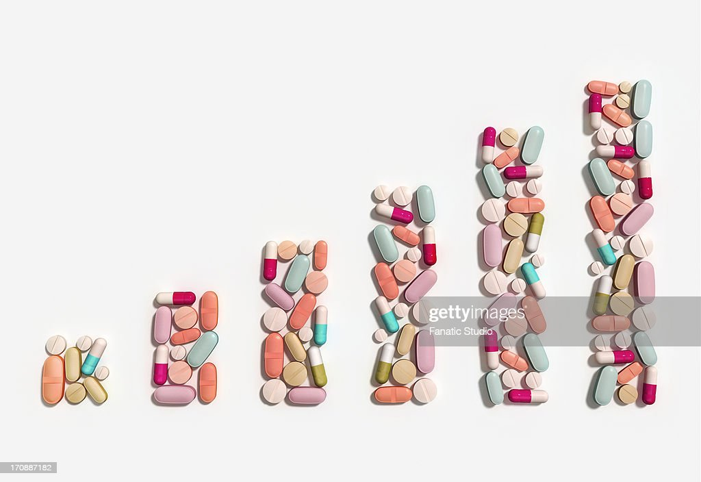 Illustration of rising cost of prescription drugs over white background : stock illustration