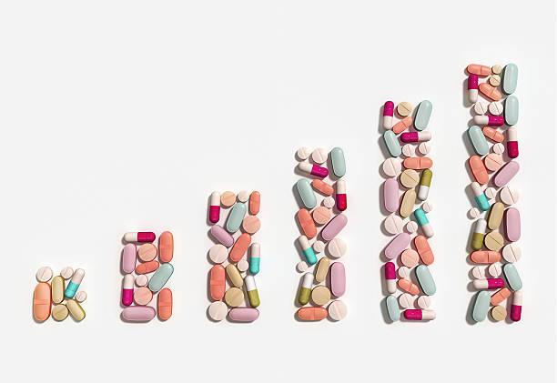 Illustration of rising cost of prescription drugs over white background