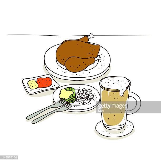 ilustraciones, imágenes clip art, dibujos animados e iconos de stock de illustration of roasted chicken with beer - pollo asado