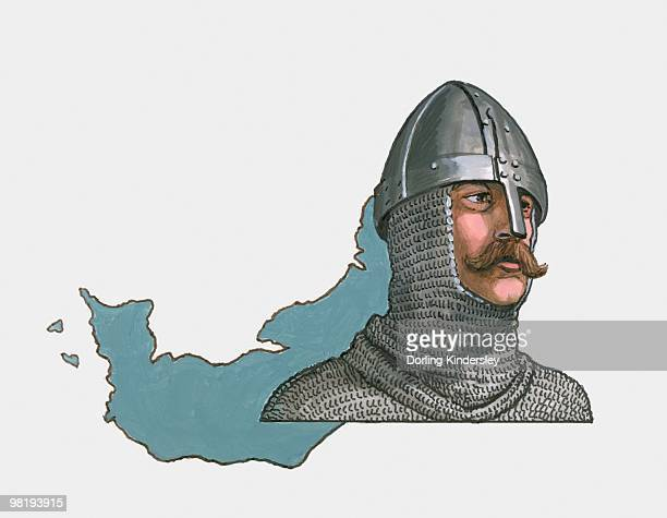 ilustraciones, imágenes clip art, dibujos animados e iconos de stock de illustration of rollo and map of normandy - normandy