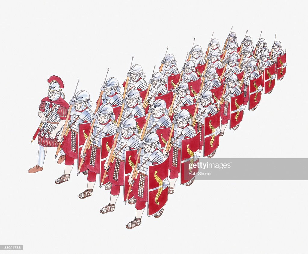 Illustration of Roman Legion marching in formation holding shields and javelins : Illustration