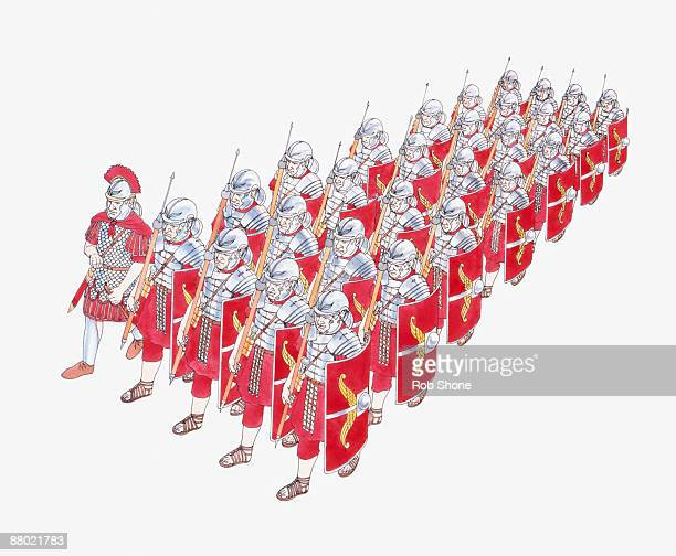 illustration of roman legion marching in formation holding shields and javelins - javelin stock illustrations