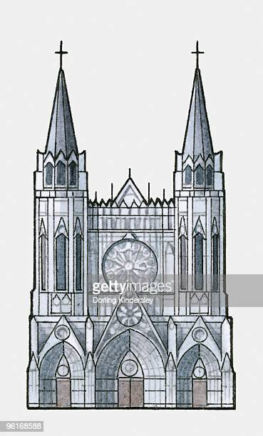 illustration of rouen cathedral, in normandy, france - rouen stock illustrations, clip art, cartoons, & icons
