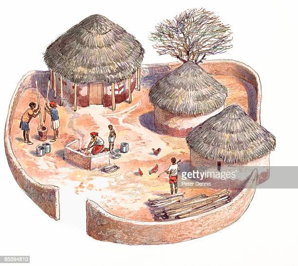 Illustration of round houses with thatched roofs and family carrying out domestic chores in walled courtyard of Tswana Village