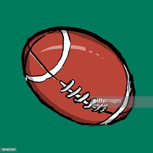 illustration of rugby ball against green background - rugby ball stock illustrations, clip art, cartoons, & icons