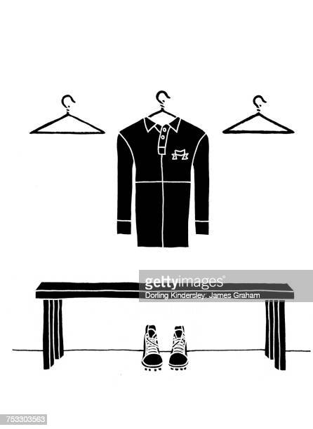 """""""illustration of rugby shirt, coat hangers and bench"""" - rugby shirt stock illustrations, clip art, cartoons, & icons"""