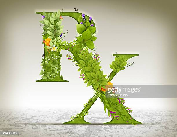 illustration of rx symbol made of herbs over colored background - natural condition stock illustrations, clip art, cartoons, & icons