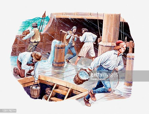 illustration of sailors pumping and bailing water out of 15th or 16th century ship - 16世紀のスタイル点のイラスト素材/クリップアート素材/マンガ素材/アイコン素材