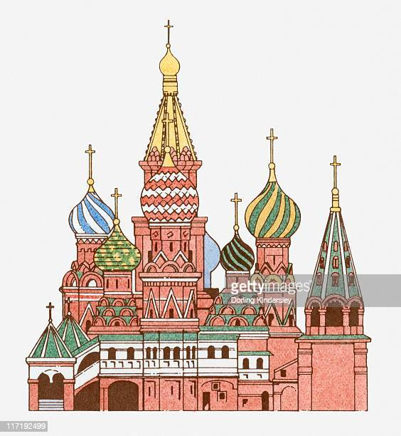 illustration of saint basil's cathedral in moscow - red square stock illustrations, clip art, cartoons, & icons