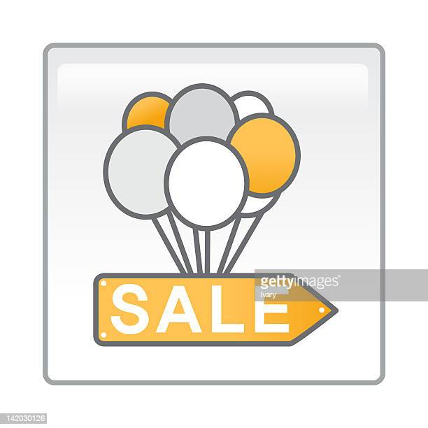 Illustration of sale board with balloons attached
