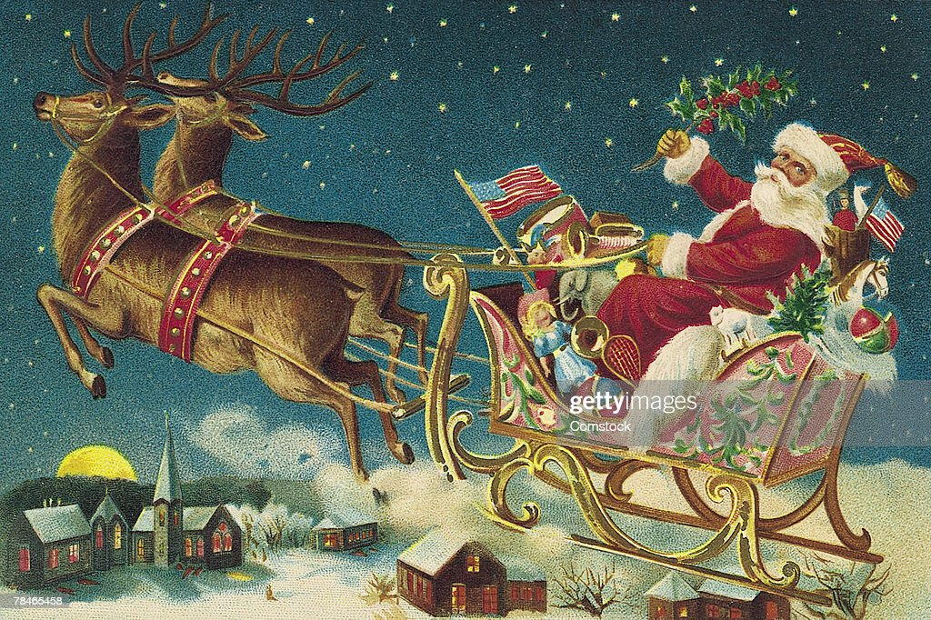 Illustration of Santa Claus and reindeer with flying sleigh : stock illustration