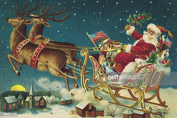 Illustration of Santa Claus and reindeer with flying sleigh