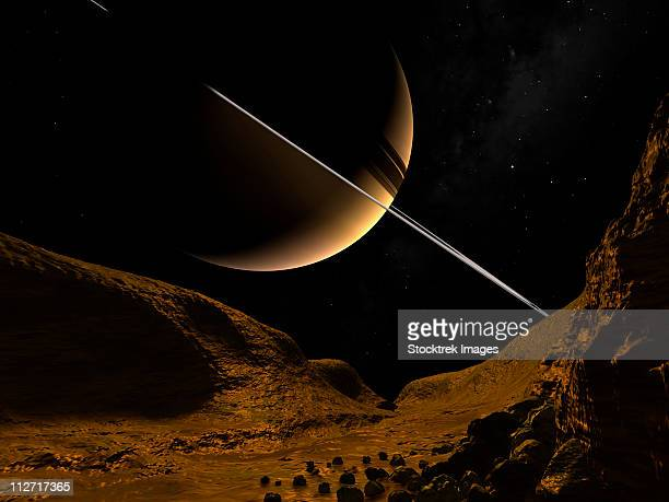 illustration of saturn from the icy surface of enceladus. - steep stock illustrations, clip art, cartoons, & icons