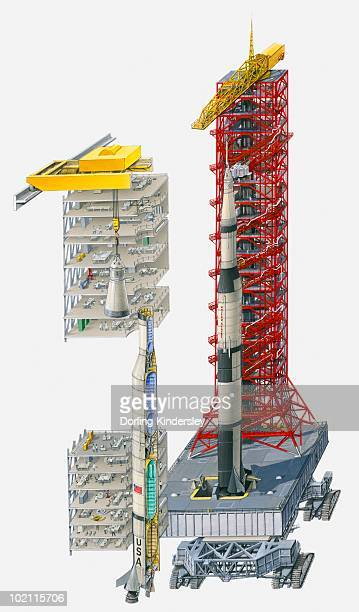 illustration of saturn v rocket on launcher platform, vehicle assembly building and cross-section through rocket - cutaway drawing stock illustrations