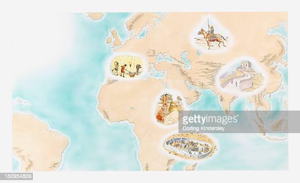 Illustration of Scythian Horsemen, Great Wall of China, Great Zimbabwe, Buhuya iron-working furnace, and Hallstatt Iron age societies around the world