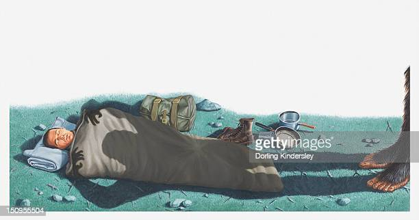 Illustration of shadow of Bigfoot (Sasquatch)looming over a sleeping Albert Ostman