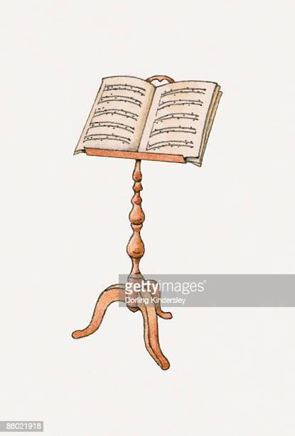 illustrations, cliparts, dessins animés et icônes de illustration of sheet music on wooden music stand  - pupitre à musique