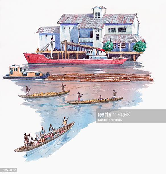 Illustration of ship in harbour, tugboat pulling timber, and men in dugout canoes on Congo River