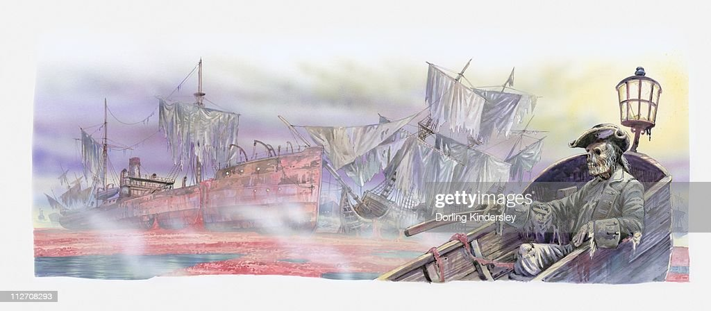 Illustration Of Ships Graveyard In The Sargasso Sea Wrecked