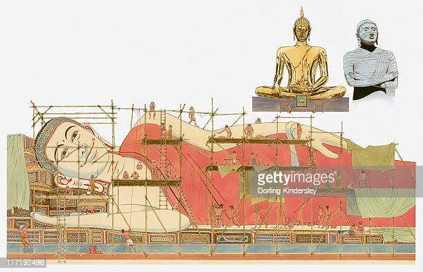 Illustration of showing the construction of the 10th Century Buddha in the city of Pegu in Burma, also known as the Shwethalyaung, the Wat Trimitr in Thailand and the Gal Vihara Temple in Sri Lanka
