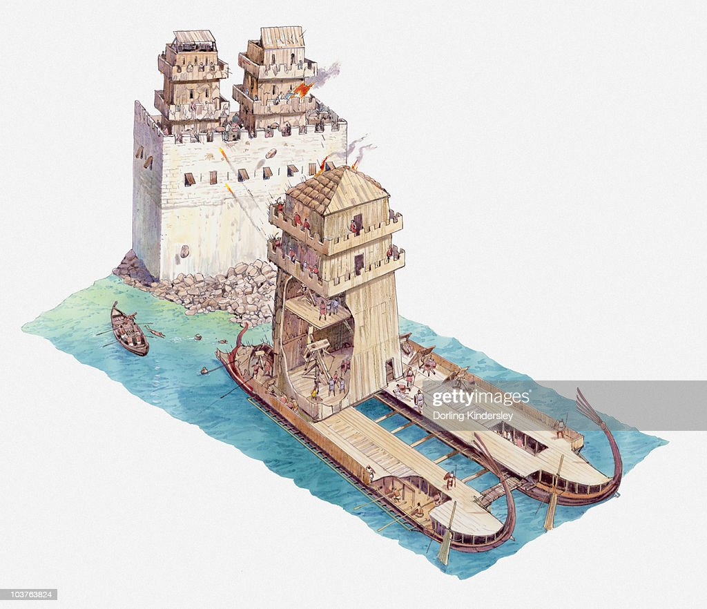Illustration of siege tower on two woodem ships approaching Tyre : Illustrazione stock