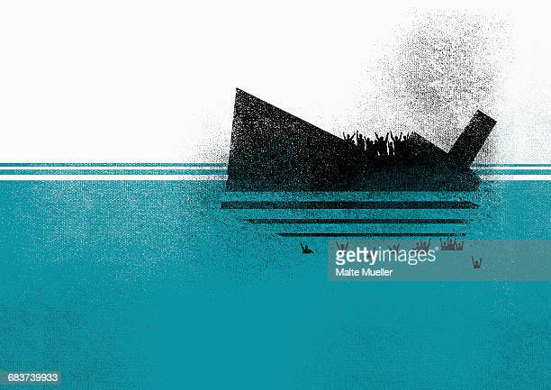 illustration of sinking ship and people in sea - head above water stock illustrations