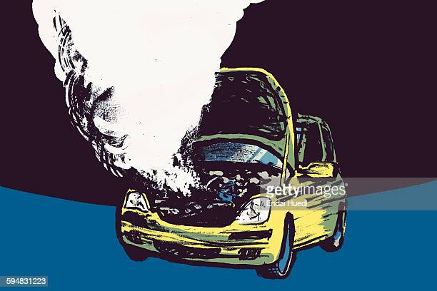 illustration of smoke coming out from car engine against black background - air pollution stock illustrations