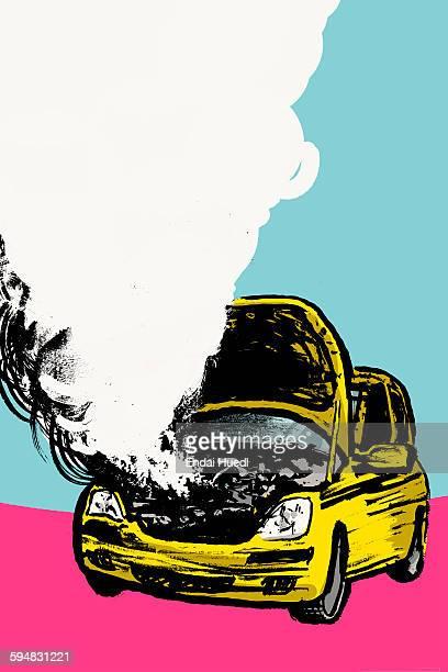 ilustraciones, imágenes clip art, dibujos animados e iconos de stock de illustration of smoke coming out from car engine against blue background - car crash