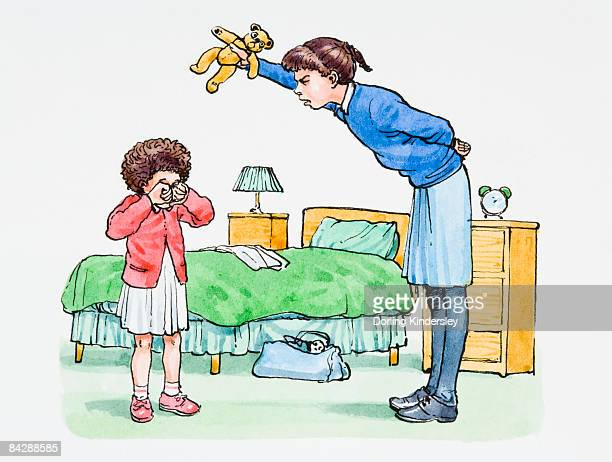 illustration of sneering teenage girl teasing crying sister by holding teddy bear above her head - teasing stock illustrations, clip art, cartoons, & icons