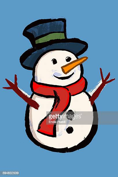 Illustration of snowman against blue background