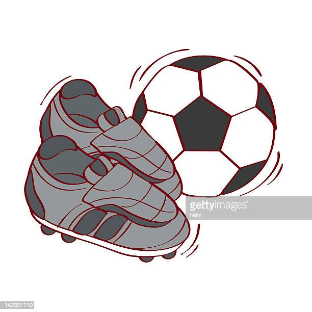 Illustration of soccer ball and shoes against white background