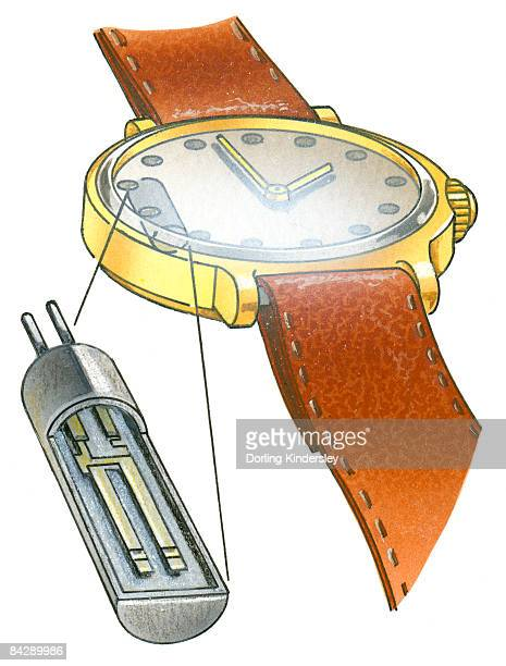 Illustration of solar cell used in light-powered quartz crystal wrist watch