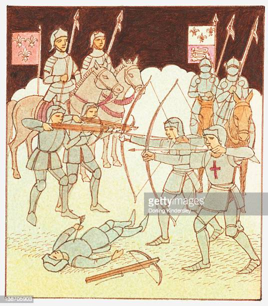 Illustration of soldiers on horseback with pollaxes, archers with longbows and cross bows and dead soldier on ground during the Hundred Years' War
